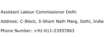 Assistant Labour Commissioner Delhi Address Contact Number