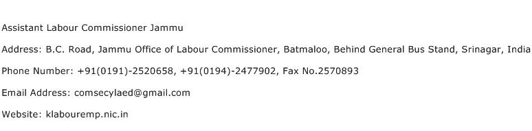 Assistant Labour Commissioner Jammu Address Contact Number