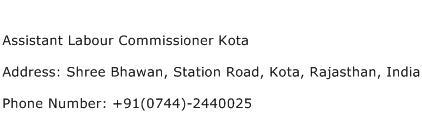 Assistant Labour Commissioner Kota Address Contact Number