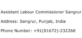 Assistant Labour Commissioner Sangrur Address Contact Number