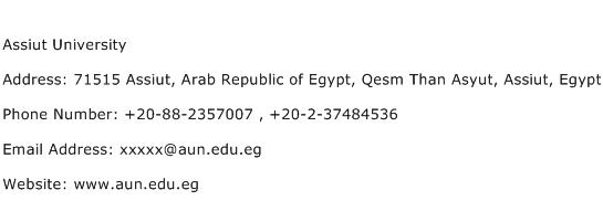 Assiut University Address Contact Number