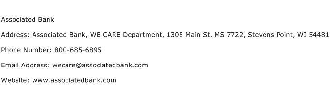 Associated Bank Address Contact Number