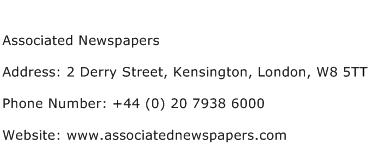 Associated Newspapers Address Contact Number