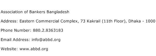 Association of Bankers Bangladesh Address Contact Number