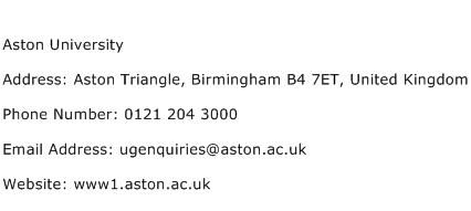 Aston University Address Contact Number