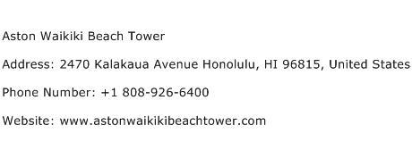 Aston Waikiki Beach Tower Address Contact Number