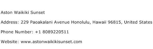 Aston Waikiki Sunset Address Contact Number
