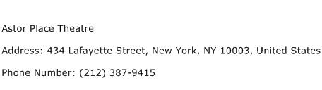 Astor Place Theatre Address Contact Number