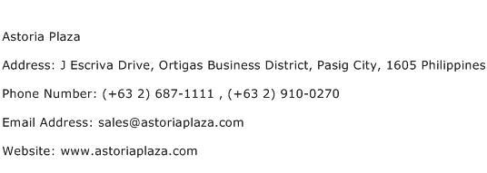 Astoria Plaza Address Contact Number