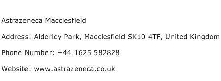 Astrazeneca Macclesfield Address Contact Number