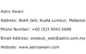 Astro Awani Address Contact Number