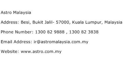 Astro Malaysia Address Contact Number