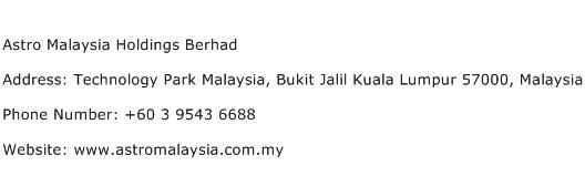 Astro Malaysia Holdings Berhad Address Contact Number