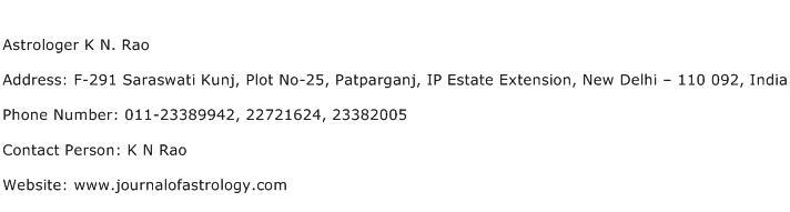Astrologer K N. Rao Address Contact Number