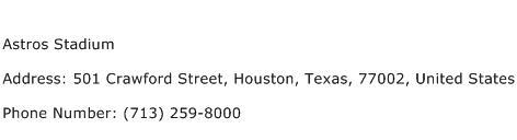 Astros Stadium Address Contact Number
