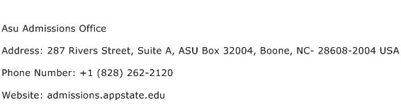 Asu Admissions Office Address Contact Number