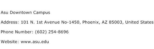 Asu Downtown Campus Address Contact Number