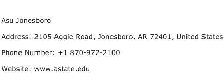 Asu Jonesboro Address Contact Number
