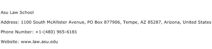 Asu Law School Address Contact Number