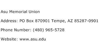 Asu Memorial Union Address Contact Number