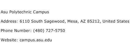 Asu Polytechnic Campus Address Contact Number