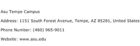 Asu Tempe Campus Address Contact Number