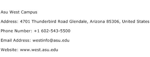 Asu West Campus Address Contact Number