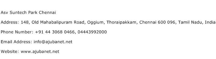 Asv Suntech Park Chennai Address Contact Number