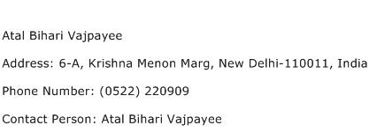 Atal Bihari Vajpayee Address Contact Number