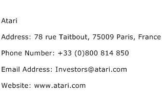 Atari Address Contact Number