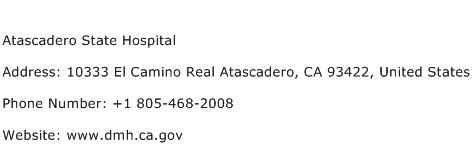 Atascadero State Hospital Address Contact Number