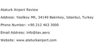 Ataturk Airport Review Address Contact Number