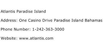 Atlantis Paradise Island Address Contact Number