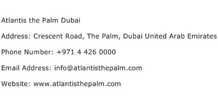 Atlantis the Palm Dubai Address Contact Number