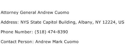 Attorney General Andrew Cuomo Address Contact Number