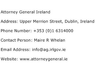 Attorney General Ireland Address Contact Number