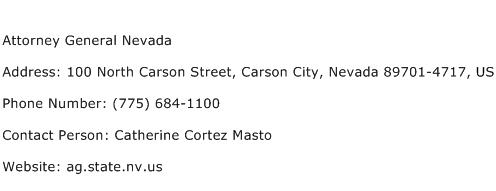 Attorney General Nevada Address Contact Number