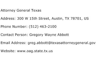 Attorney General Texas Address Contact Number