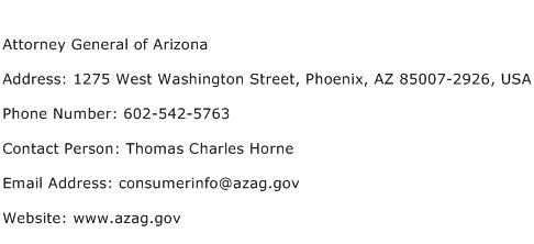 Attorney General of Arizona Address Contact Number