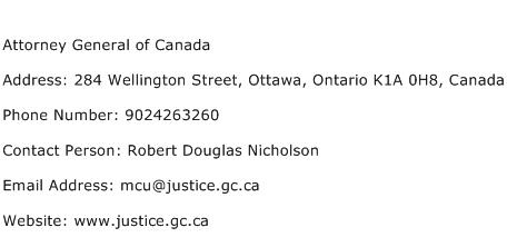 Attorney General of Canada Address Contact Number