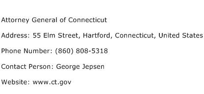 Attorney General of Connecticut Address Contact Number