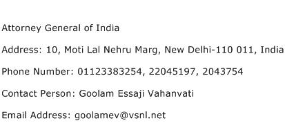 Attorney General of India Address Contact Number