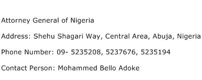 Attorney General of Nigeria Address Contact Number