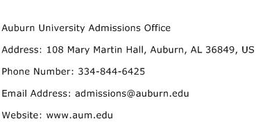 Auburn University Admissions Office Address Contact Number