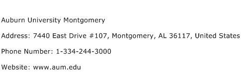 Auburn University Montgomery Address Contact Number