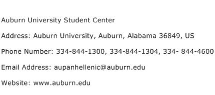 Auburn University Student Center Address Contact Number