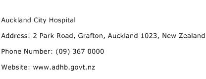 Auckland City Hospital Address Contact Number