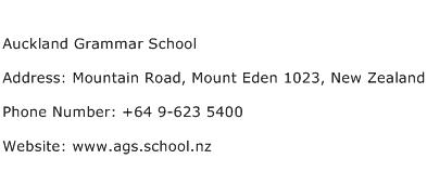 Auckland Grammar School Address Contact Number