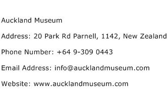 Auckland Museum Address Contact Number