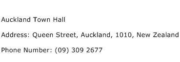 Auckland Town Hall Address Contact Number